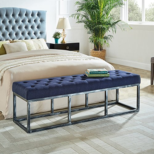 (WEMART Upholstered Tufted Long Bench with Metal Frame Leg, Ottoman with Padded Seat-Navy Blue)