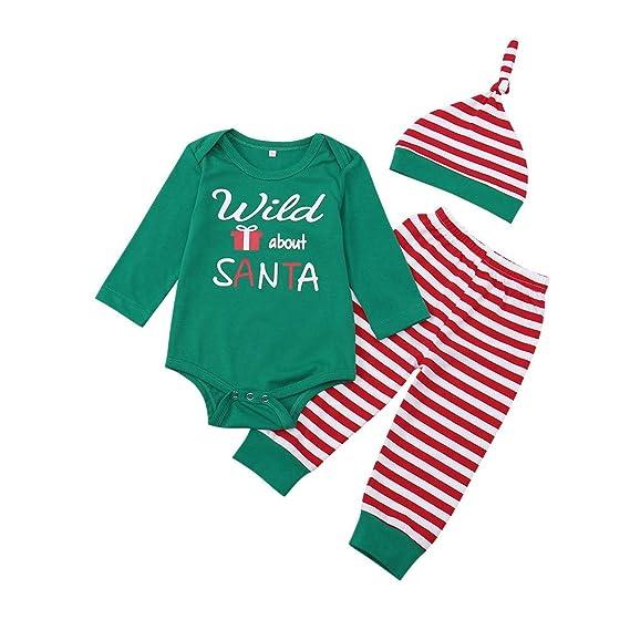 BBsmile Ropa de bebé Otoño Invierno Recién Nacido Navidad Letra Rayas Mameluco  Pantalones y Sombrero de Conjunto de Ropa  Amazon.es  Ropa y accesorios 7354cfc365ad