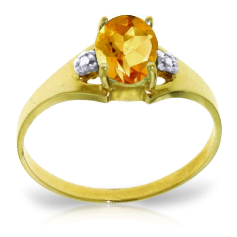 ALARRI 0.76 Carat 14K Solid Gold Possessed Glee Citrine Diamond Ring
