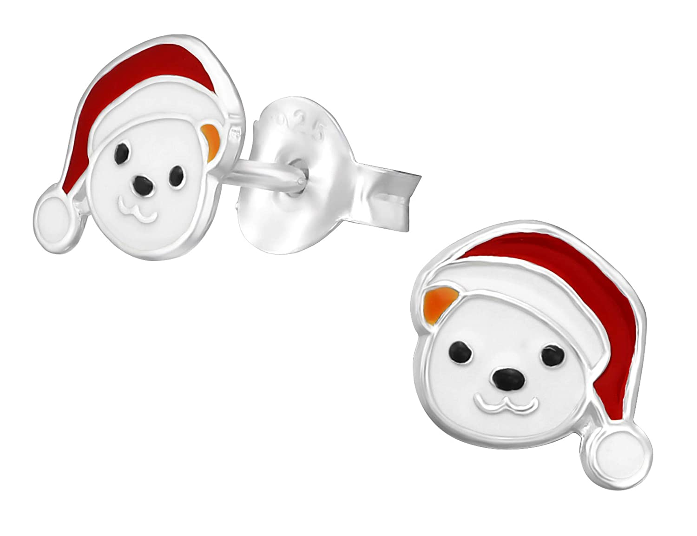 Best Wing Jewelry .925 Sterling SilverChristmas Bear Tiny Childrens Stud Earrings