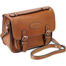 Mini 9 Instant Camera Accessories Case - Lalonovo Retro Vintage PU Leather Bag for Fujifilm Instax Mini 9/Mini 8/Mini 7s/Mini 25/Mini 50s/Mini 90/Instant Film Camera with Shoulder Strap (Brown)