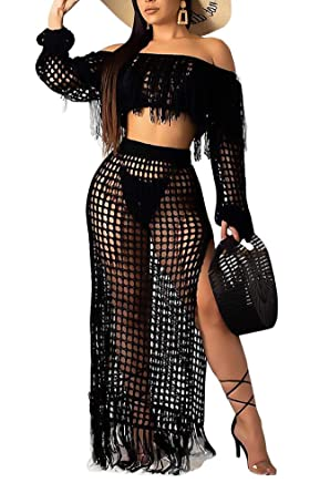 4186b2419c2 DINGANG Womens Cute Two Piece Outfits Off The Shoulder Tube Top and Split  Mesh Club Swing