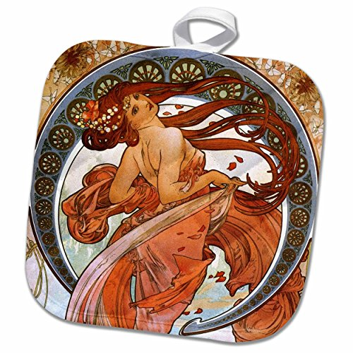 3D Rose Mucha – Muse of Dance Pot Holder, 8 x 8 by 3dRose