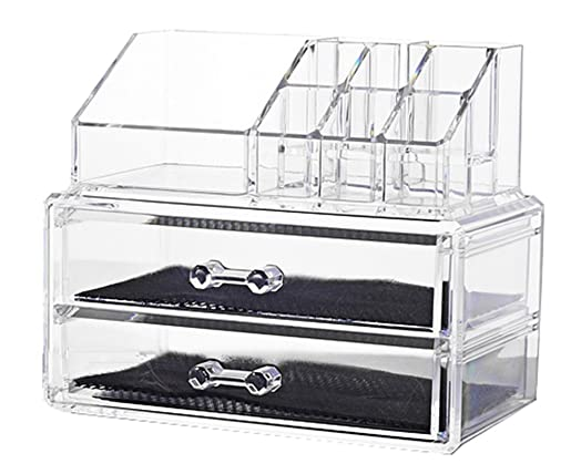 clear makeup box. doubleblack cosmetic jewellery rack makeup organizer box case clear 2 storage drawers r