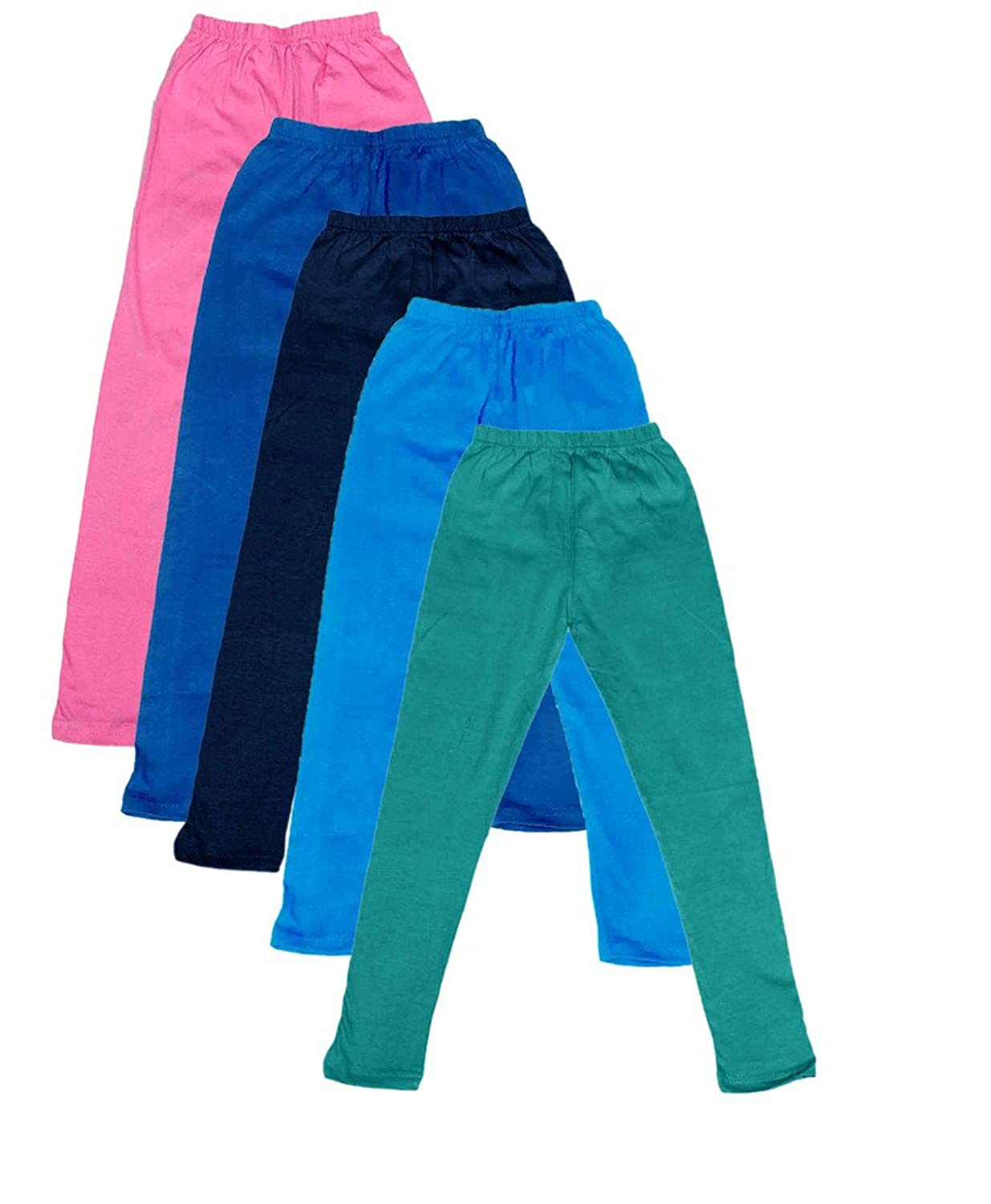 -Multiple Colors-3-5 Years Pack of 6 Indistar Little Girls Cotton Full Ankle Length Solid Leggings
