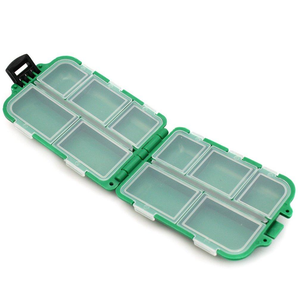 Estuche Caja Pl/ástico con 10 Compartimentos para Pesca Anzuelo Se/ñuelo Cebos