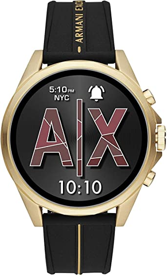 Armani Exchange Mens Smartwatch Powered with Wear OS by Google with Heart Rate, GPS, NFC, and Smartphone Notifications