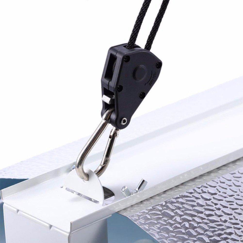 UEETEK 4 St/ücke Seil Ratsche mit Haken f/ür Pflanzenlampe 1//8 Zoll