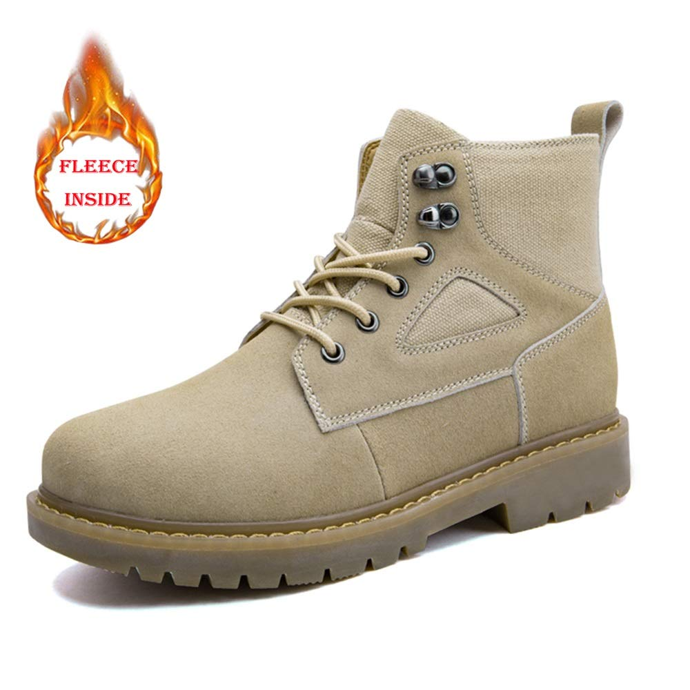 Warm Beige Easy Go Shopping Men's Fashion Ankle Work Boot Casual Personality Splicing Winter Faux Fleece Inside High Top Boot Cricket shoes