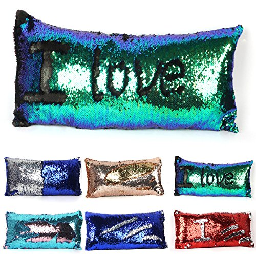 2 Colors Reversible Mermaid Sequins Pillow Sofa Couch Cushion Cover Throw Pillow Case 30cm x 60cm (Multi Green and Black)