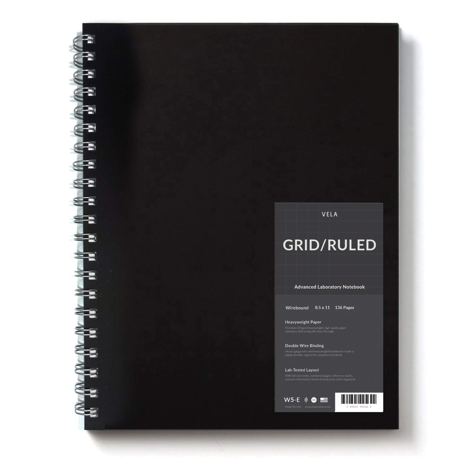 Vela Sciences Advanced Wirebound Lab Notebook, 8.5 x 11 inches, 136 Pages, Precision Grid/Ruled (1-Pack)