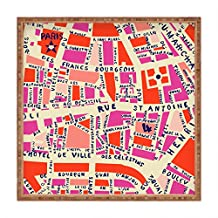 DENY Designs Holli Zollinger Paris Map Pink Square Outdoor Tray, Large