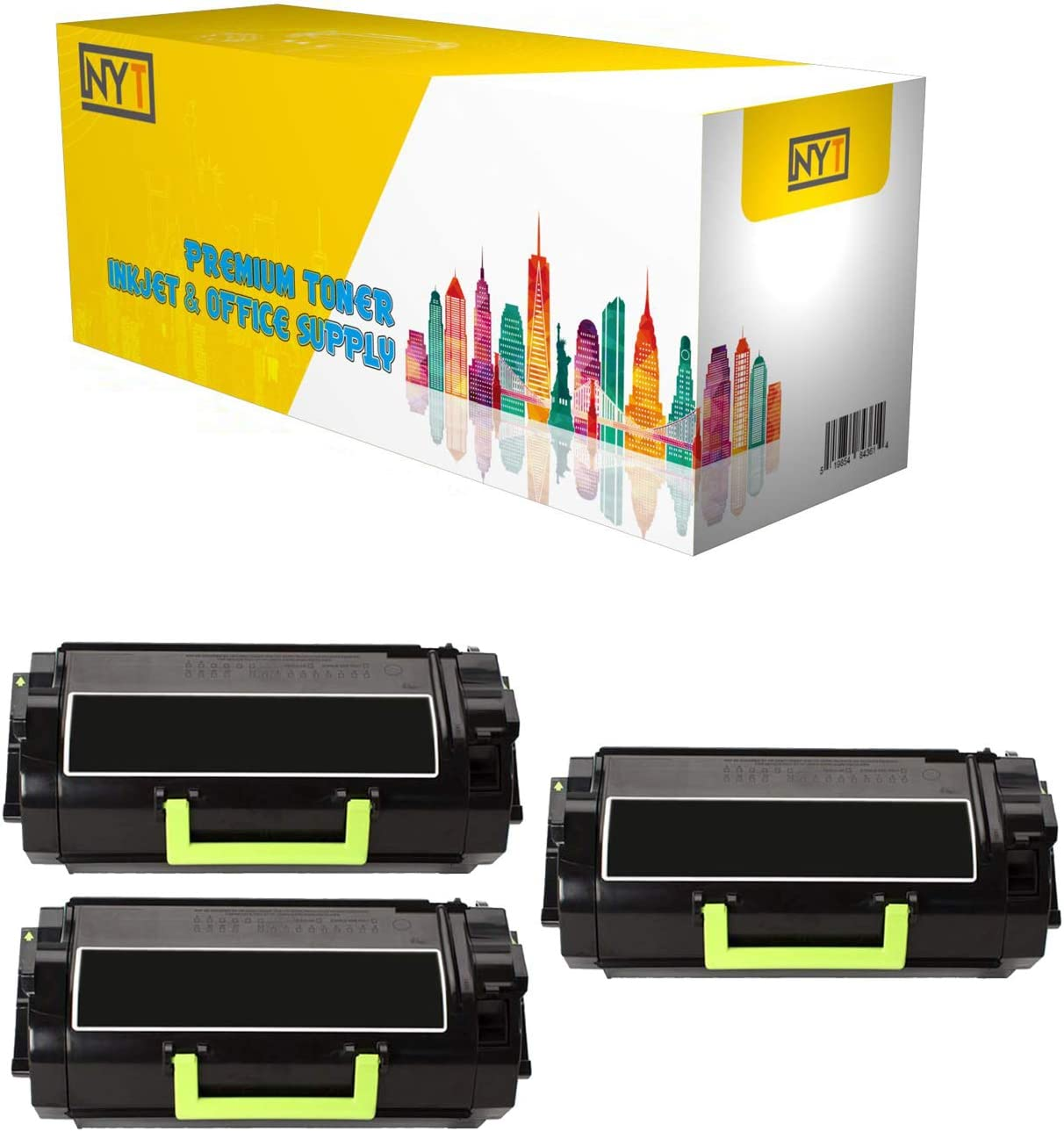 MU810 for Lexmark MX-710 711 810 811 812 Made in USA. Black, 3-Pack NYT Remanufactured Toner Cartridge Replacement for 620 620G 621 62D000G 62D00A0 62D1000