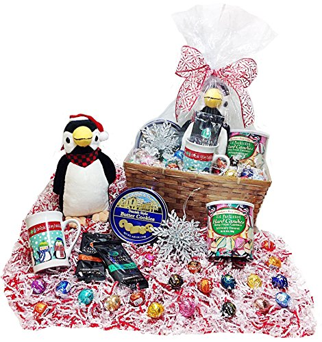 Deluxe Christmas Holiday Gift Basket - Lindt Gourmet Truffles, Mug, Hot Cocoas, Hard Candies, Cookies, Tree Ornament & Plush Holiday Penguin