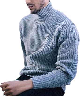 WAWAYA Mens Casual Crewneck Long Sleeve Basic Knitted Slim Fit Pullover Sweater