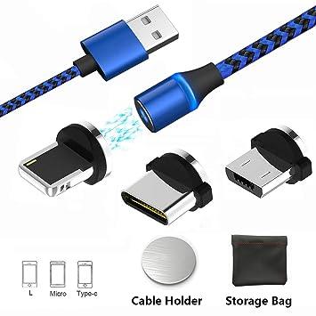 Cable de Carga magnético USB 3 en 1 Cable Cargador con LED para Android, múltiples adaptadores de Carga Micro Tipo C sin Datos de sincronización. ...