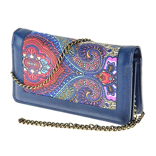 Women's Floral Print Small Shoulder Bag Bifold Lady Crossbody Purses Cell Phone Pouch Card Holder Wallet with Chain