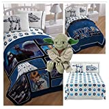 Star Wars Complete Twin Bed in a Bag - Reversible Comforter, Sheet Set with Reversible Pillowcase and Yoda Pillow Buddy