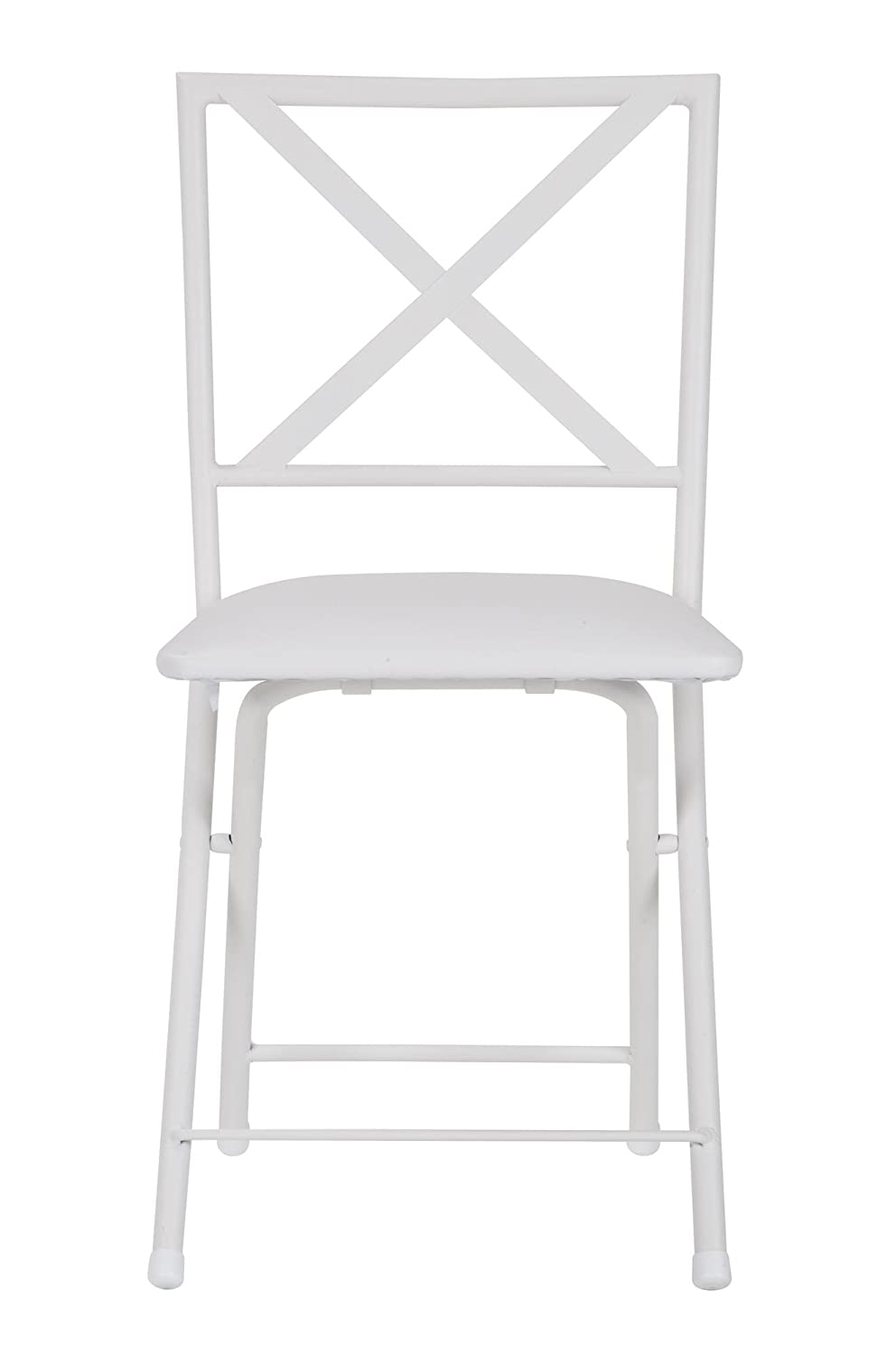 COSCO X-Back Metal Folding Dining Chair with Vinyl Seat, White, 4 Pack