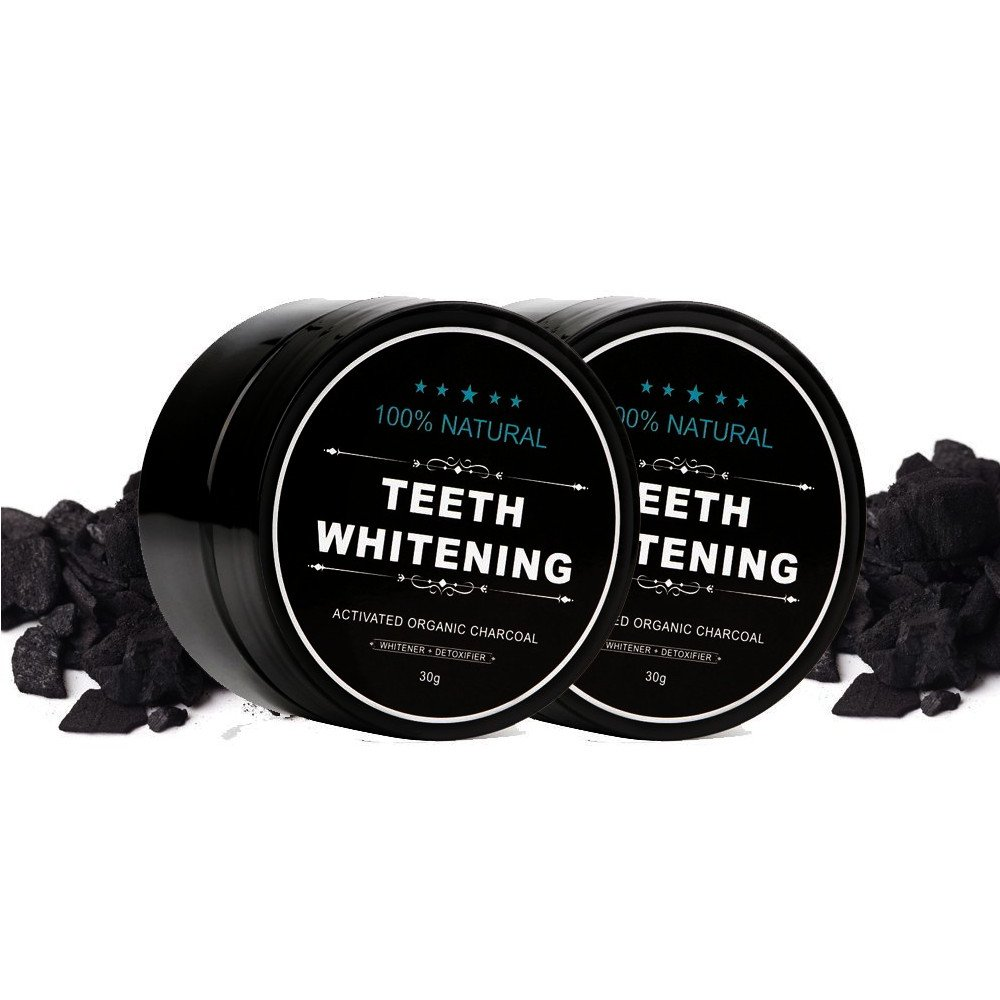 PU Health Pure Acoustics Activated Charcoal Ultra Bright Organic Teeth Brightening Powder, Black