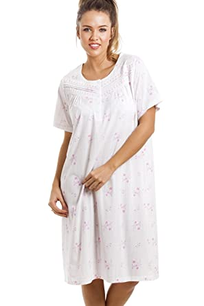 Camille Soft Cosy Knee Length Short Sleeve Pink Floral Nightdress   Amazon.co.uk  Clothing 565f80a1f