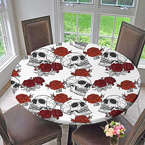 Round Table Tablecloth Retro Gothic Dead Skeleton Figures with Rose Halloween Spooky Trippy Romantic Grey for Wedding Restaurant Party 59