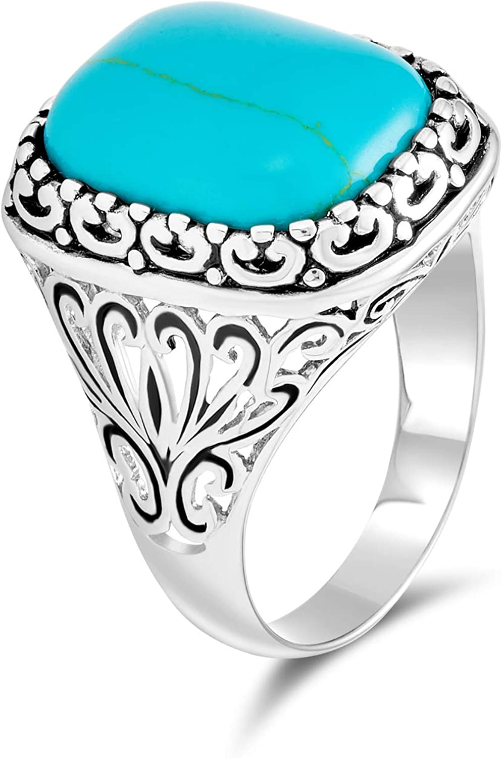 Natural Turquoise Stone  Sz 4 Rustic Unusual Abstract Turquoise and Sterling Silver Ring Created from a Fork with a Large