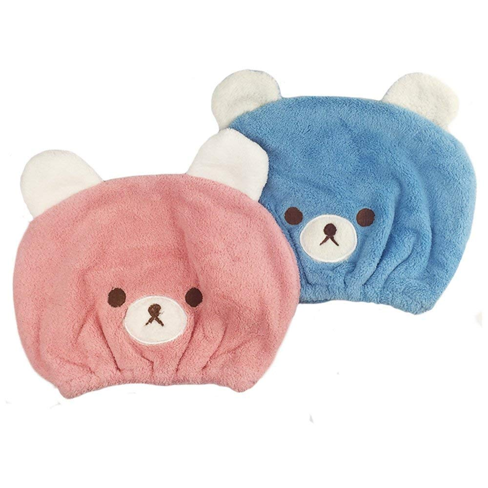 Baby Hair Drying Towel, Adorable Animal Hair Cap Wrap for Kids, Girls Ultra Absorbent & Quick Drying 2 Pack- 18 x 24cm Pink & Blue Txyk