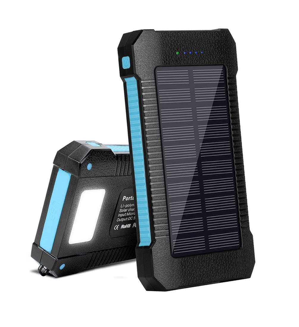 Solar Power Portable Phone Charger 22000mAh, Solar Power Bank Fast Charging with LED and USB Type C Ports, Solar Cellphone Charger Large Capacity External Battery (Blue) by LICORNE