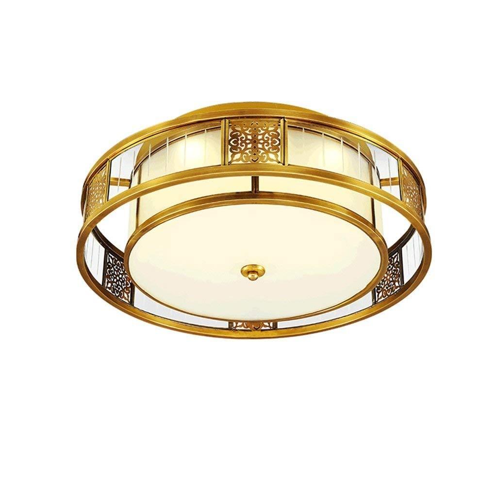 JJSFJH 調光対応LEDのフラッシュ台紙の天井灯、アメリカの現代円形の銅の照明のバルコニーの通路のポーチE27 LEDの固定ランプのシャンデリアの天井灯(サイズ:65cm) B07RL1K58F