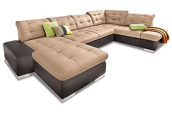 Sofa Couch Premium Leder Wohnlandschaft Portofino Braun Amazon De