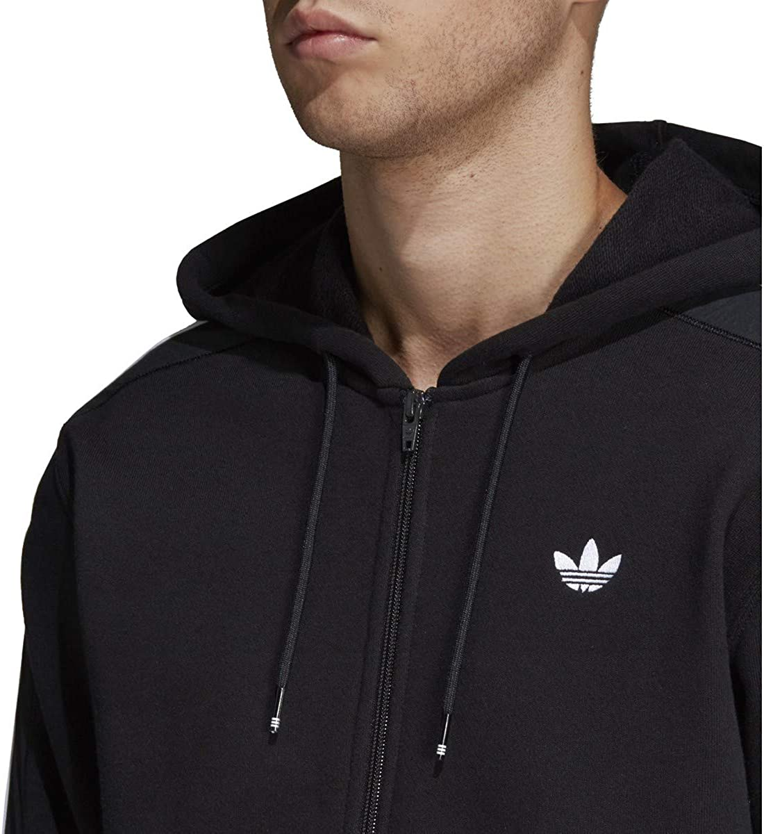 Adidas Mens Essentials 3-Stripes Full-Zip Fleece Hooded Sweatshirt