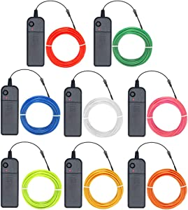 Zitrades EL Wire Neon Lights 15ft (15ft, Pack of 8, Red/Green/Blue/White/Pink/Lemon Green/Yellow/Orange)