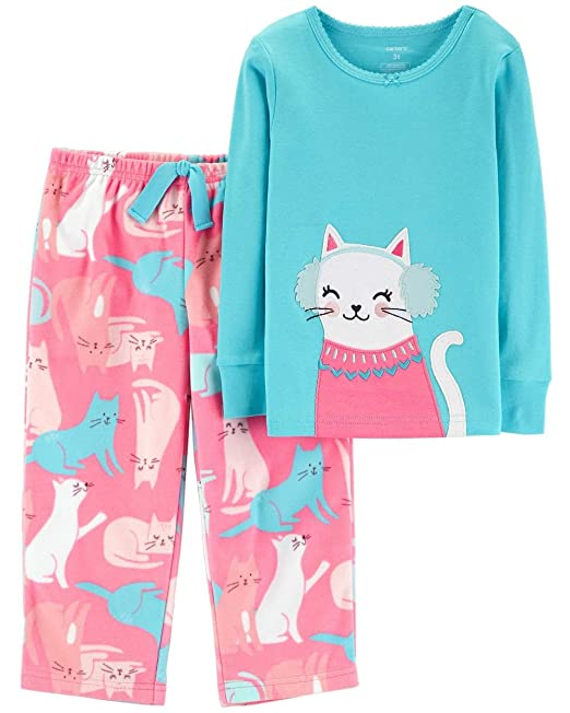 40e1da22c Carter's Girls' Cotton and Fleece 2 Piece Pajama Set (Pink Blue Multi, ...
