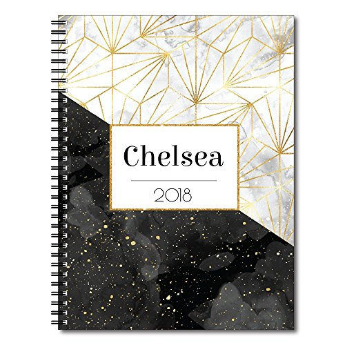 Specks of Gold Personalized Modern Marble Spiral Notebook/Journal, 120 College Ruled or Checklist Pages, durable laminated cover, and wire-o spiral. 8.5x11 | 5.5x8.5 | Made in the USA