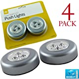 4 LED PUSH LIGHTS - SUPER BRIGHT LED - SELF-ADHESIVE BACK