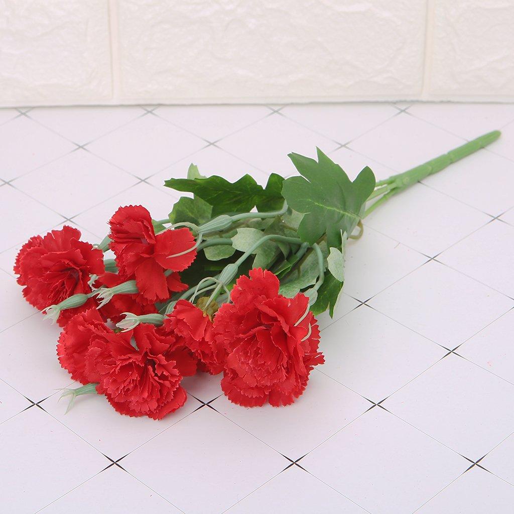 Ruda 10 tê te artificielle fleur oeillets feuille bouquet maison chambre mariage jardin dé cor(Rose)