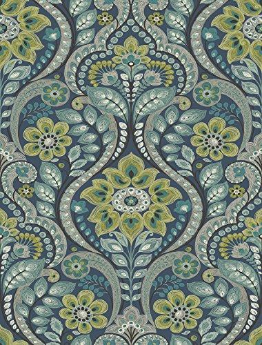 A-Street Prints 2763-12101 Night Bloom Damask Wallpaper, ()