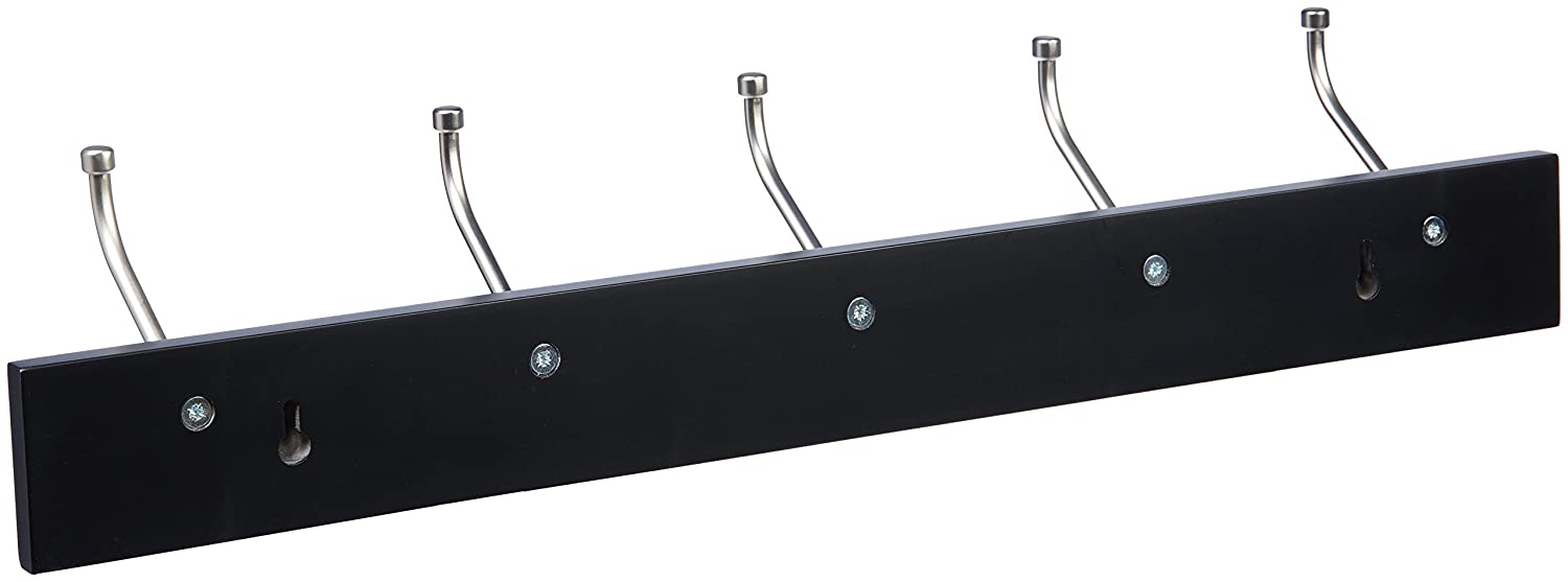 AmazonBasics Wall-Mounted Farmhouse Coat Rack, 5 Standard Hooks, Black