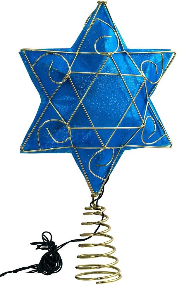 "Kurt Adler 13"" Gold and Blue Battery-Operated Lighted Deluxe Hanukkah Tree Topper"