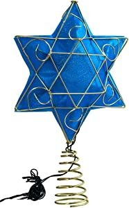 "Kurt Adler 13"" Gold and Blue Battery-Operated Lighted Deluxe Hanukkah Tree Topper"