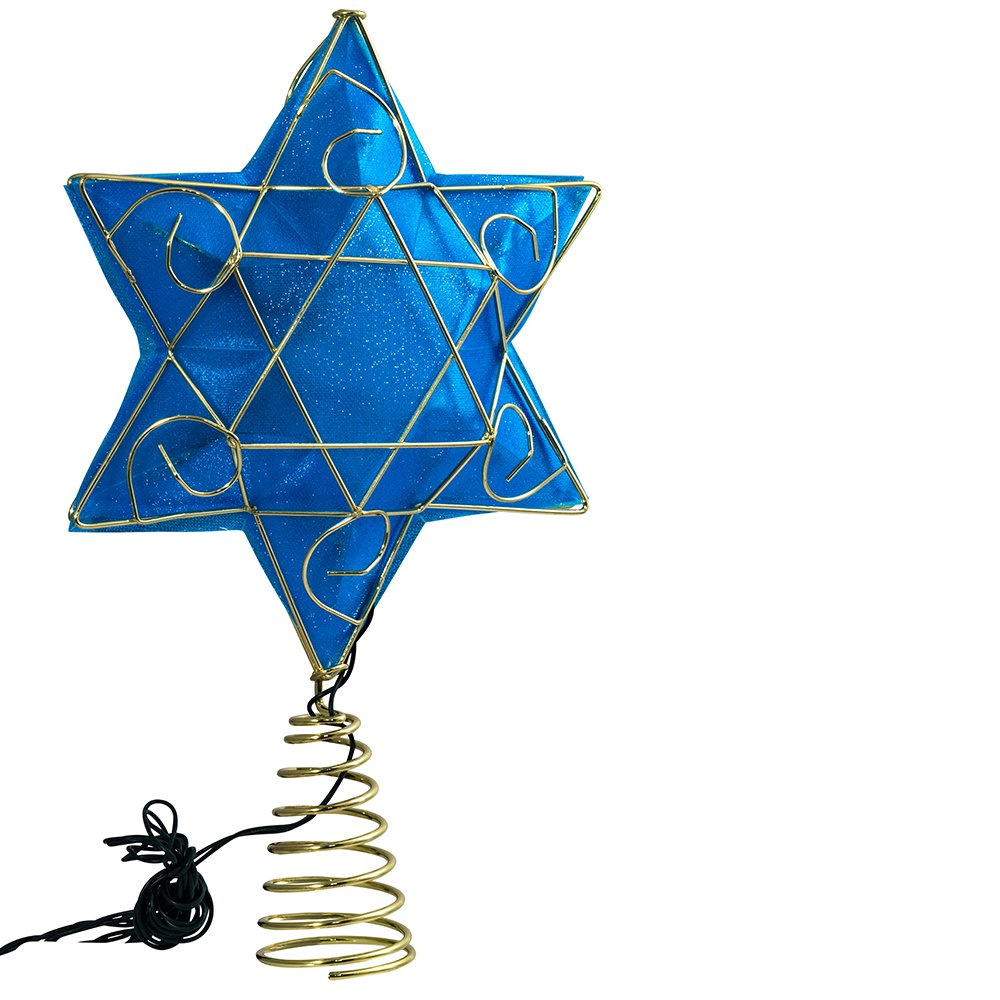 Kurt Adler 13'' Gold and Blue Battery-Operated Lighted Deluxe Hanukkah Tree Topper