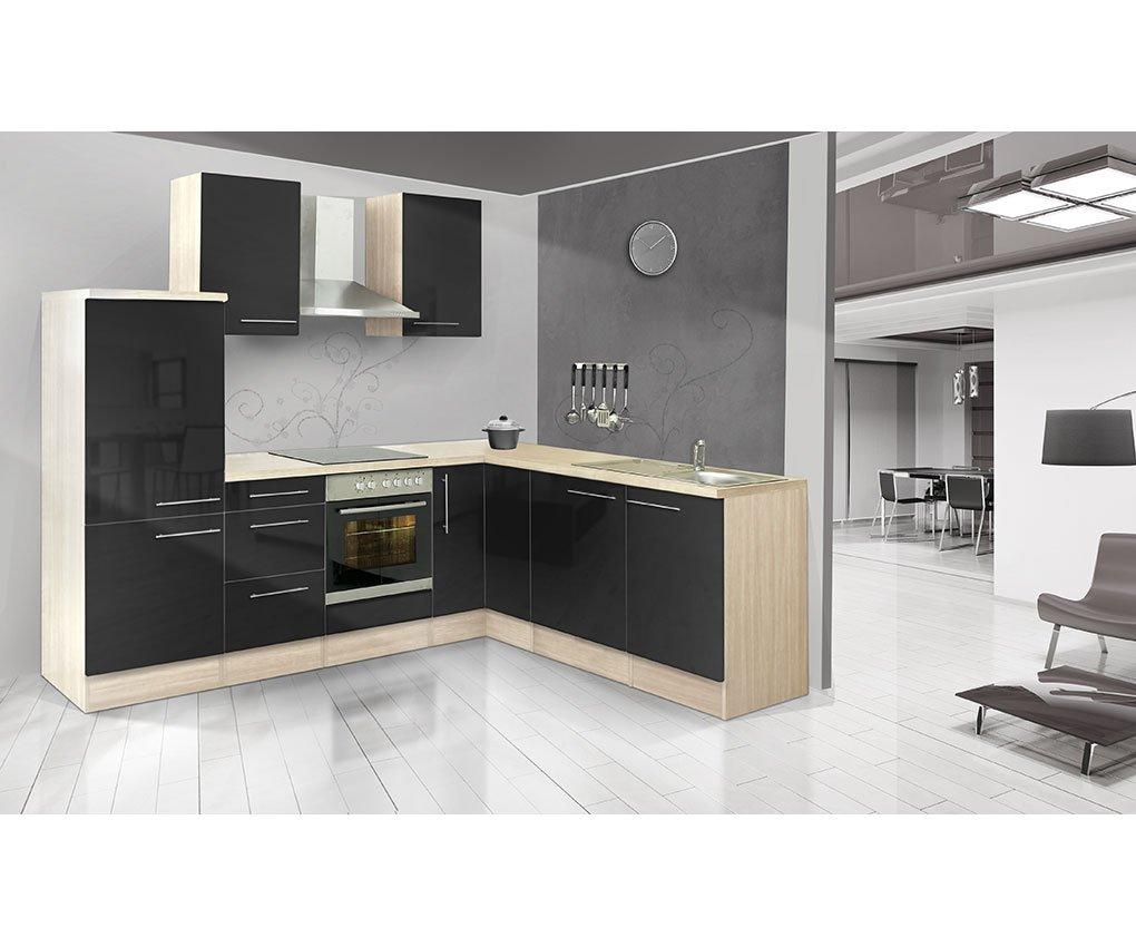 respekta Küchenleerblock Premium L-Küche 260 x 200 cm Akazie Nachbildung Schwarz Hochglanz