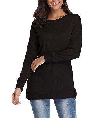eaaeab4a097 Nekosi Womens Long Sleeve Side Slit Casual Crewneck Pullover Solid Top Black  S