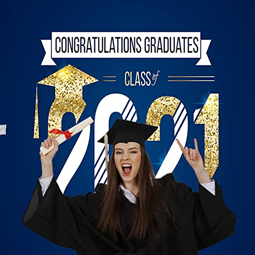 x7ft 5ft W H Graduation Ceremony 2019 Photography Backdrops for Photographers Blue Gold Background No Wrinkle Reused College Grads Photo Studio Props