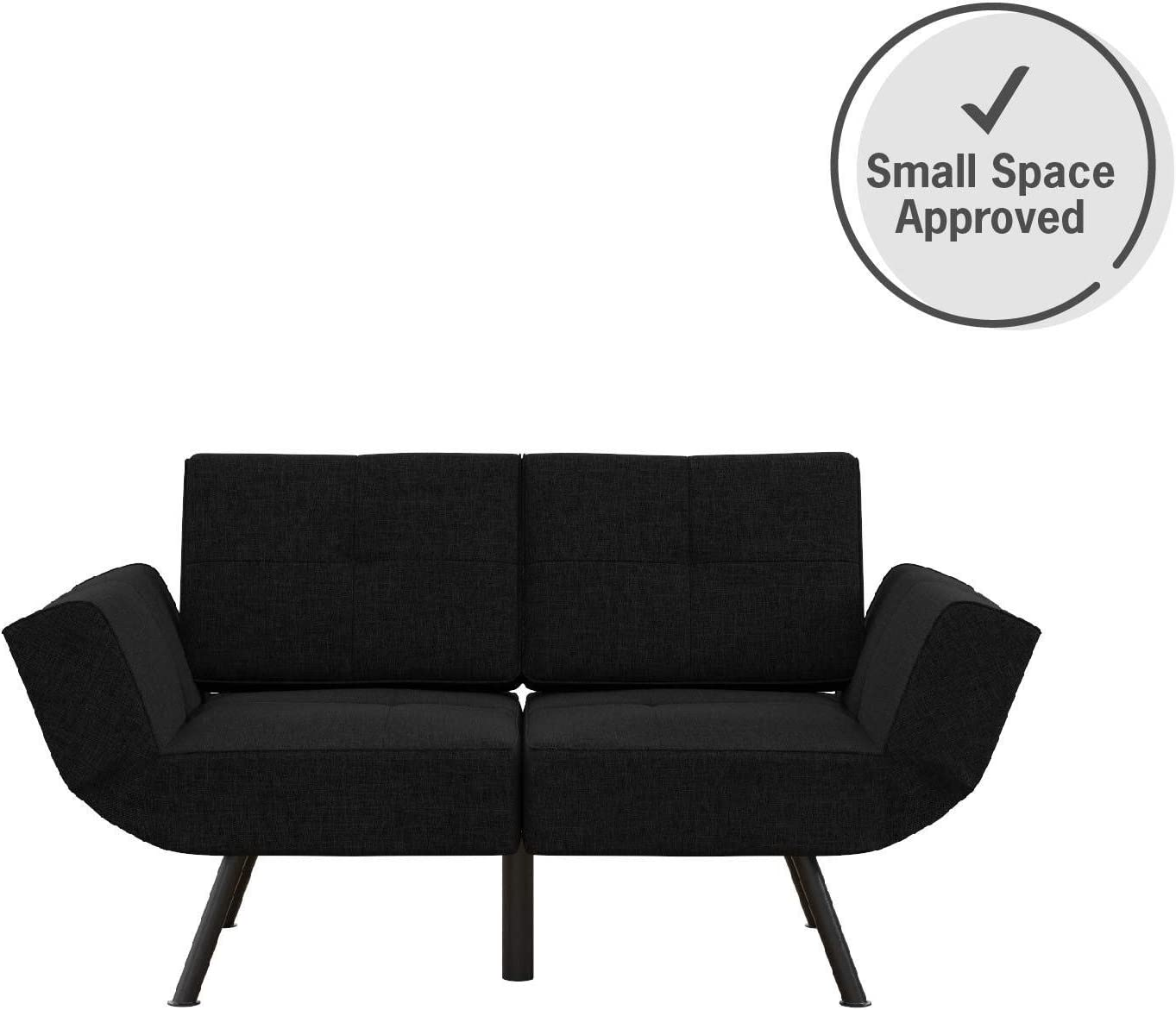 REALROOMS Euro Loveseat Futon, Reclining Sofa and Couch with Magazine Storage Pockets, Dark Gray Linen