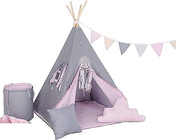 Kinder Teepee Tipi Set f/ür Kinder Spielzeug drinnen drau/ßen Spielzelt Zelt 8 Elemente dabei Tipi-Set Indianer Indianertipi mit Fenster usw Tipi mit und ohne Zubeh/ör erh/ältlich