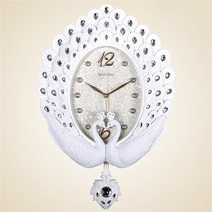 AIZIJI Salón Reloj de Pared Reloj gráfico Mural PAVORREALES silenciar Grandes Muebles Antiguos Elegantes Habitaciones Creative