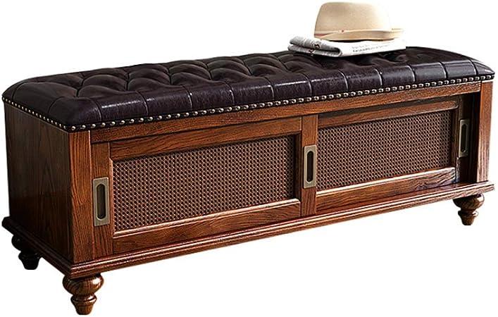 Chl Meuble Vintage Bois Banc Meuble Chaussure Entree Banc Coffre Avec Coussin En Cuir Vie De 50 Ans Facile A Assembler Color Brown A Size 120x38x45cm Amazon Fr Cuisine Maison