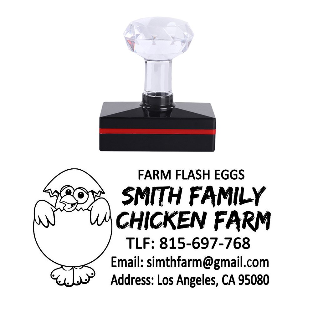 5025mm Personalized Fresh Egg Hen Chicken Family Farm Design Creative Ideas Gift Business Self Inking Office Stamper Custom Company Brand Return Address Rubber Stamp
